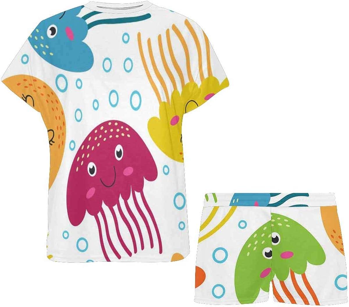InterestPrint Pattern with Jellyfish Women's Pajama Sets Short Sleeve Shorts - Pajamas for Women