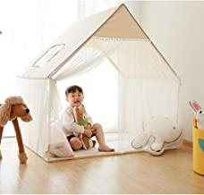 Wonder Space Children Playhouse - 100% Natural Cotton Canvas Cute Play Castle Tent for Girls, Sturdy Safe Wooden Structure, Large Fairy Tent for Indoor & Outdoor Games (White)