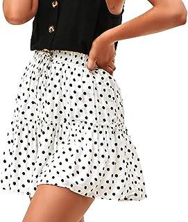 VonVonCo Fashion Women Casual Wild Ruched Ruffles A-Line Pots Elastic Waist Short Pants Mini Skirt