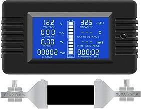 DC Multifunction Battery Monitor Meter,0-200V,0-300A (Widely Applied to 12V/24V/48V RV/Car Battery) LCD Display Digital Current Voltage Solar Power Meter Multimeter Ammeter Voltmeter