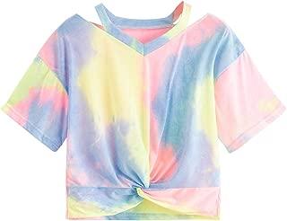 Women's Twist Front Cut Out Short Sleeve Crop Top T-Shirt