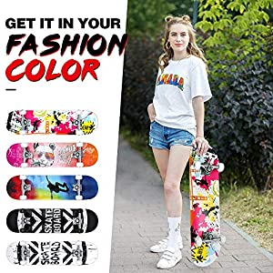 "BELEEV Skateboards for Beginners, 31""x8"" Complete Skateboard for Kids Teens & Adults, 7 Layer Canadian Maple Double Kick Deck Concave Cruiser Trick Skateboard with All-in-One Skate T-Tool(Nebulae)"