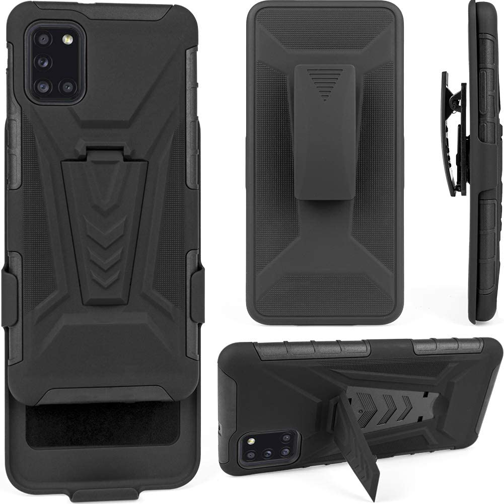 TKMore Dual-Layer Cell Phone Case for Samsung Galaxy A31 with Belt Clip Holster and Kickstand Holder Anti-Knock Cover Black
