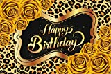Yellow rose leopard print theme Happy Birthday Backdrop ,Happy Birthday Photography Background for girl,women, sister, daughter. Party Banner Dessert Table Decorations, Photography Photo Props,4x6 ft