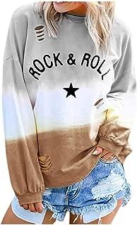 TWGONE Gradient Color Shirt Women Hippie Soul Tshirt Tie Dye Long Sleeve O Neck Letter Printed Casual Tops