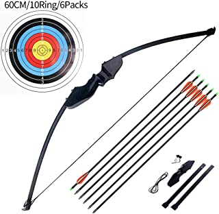 "Ationgle Compact Take-Down Bow with Fiberglass Limbs and Black Wooded Riser for Right Handed 51"" Long 30"" Draw Length, Beginner Archery Recurve Bow 30 Lbs 40 Lbs (30lbs, 6 x Arrows, 6 x Target Faces)."