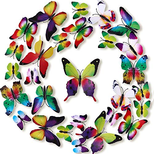 LiveGallery 72 PCS 6 Colors Removable 3D DIY Beautiful Butterfly Wall Decals Colorful Butterflies Art Decor Wall Stickers Murals for Kids Baby Boy Girls Bedroom Classroom Offices (Rainbow)