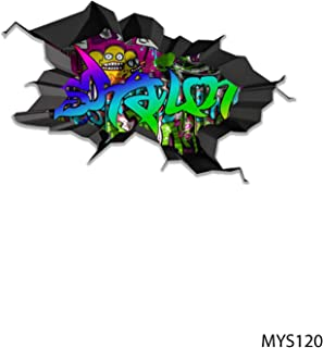 MySticky Vinyl Graffiti Wall Decal + Custom Text/Name | 3D Sticker | Peel/Stick | DIY Friendly | Easy Appli | Art/Decor - DEEP Black Border (3 Sizes = S/M/L) [Bedroom, LivingRoom, Kids or Any Room]