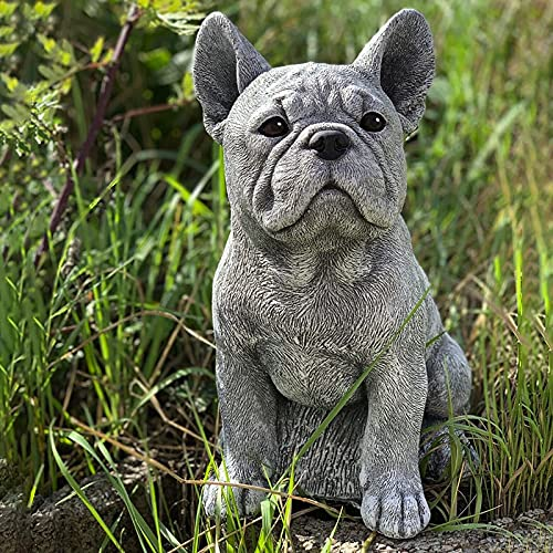 Yongqin Outdoor Gnome Decoration Realistic French Bulldog Dog Garden Statue Stone Finish Effective Resin Crafts for Garden Courtyard Decoration Outdoor Sculpture Sitting Dog Figurine Collect