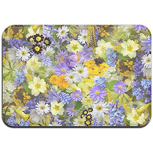 N/A Spring Flowers Field Outdoor Gummimatte Vordertürmatten Veranda Garage Large Flow Slip Entry Teppich