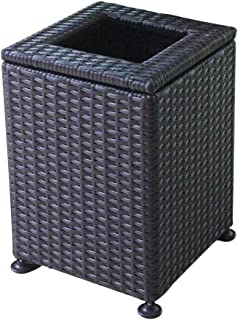 Outdoor Trash Cans Bins Hand-Woven Plastic Square Trash Can Large Outdoor Dustbins Park Bathroom Hotel Office Garden Vertical Compost Waste Recycling Bins Outdoor Trash Cans