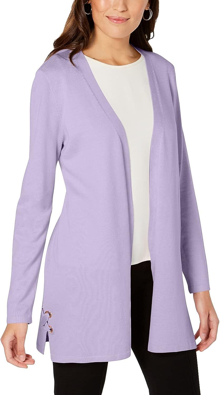 JM Collection Petite Open-Front Lace-Up Cardigan, Purple, X-Large