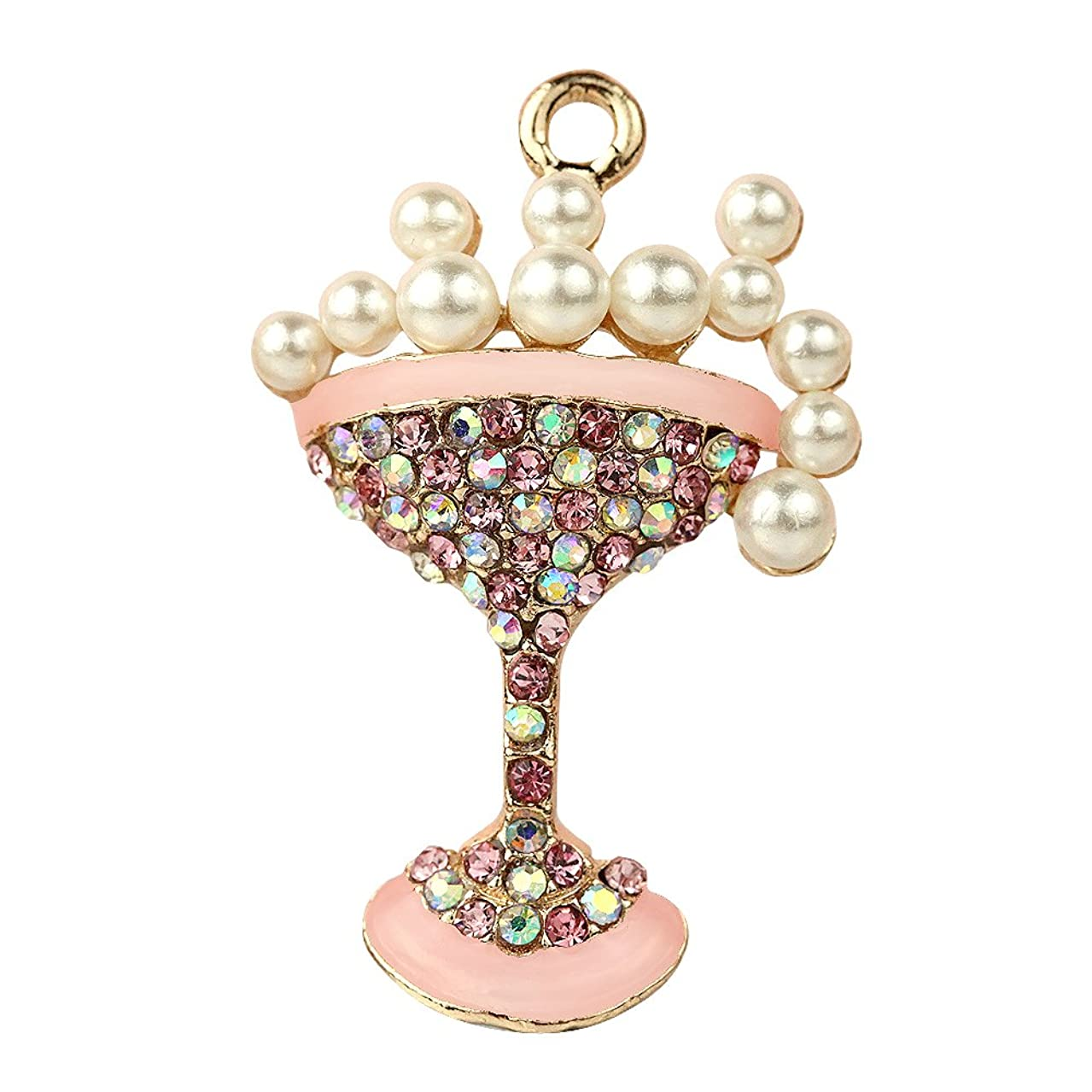 Creative DIY Elegant Pink Crystal Champagne Cocktail Charms Pendants Wholesale (Set of 3) MH631
