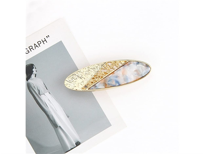 機密放射するニンニクOsize 美しいスタイル 女性のシンプルなファッションヘアピン合金中空オーバルスプリングクリップ(ライトレイクブルー)