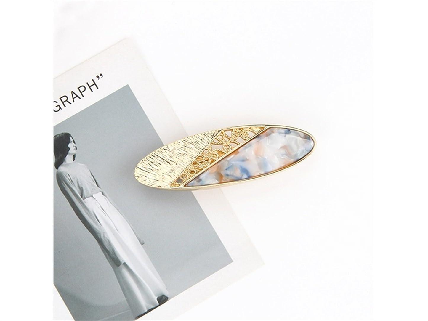 壊れたうれしい抗生物質Osize 美しいスタイル 女性のシンプルなファッションヘアピン合金中空オーバルスプリングクリップ(ライトレイクブルー)