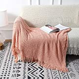 Decorative Throw Blankets with Tassels Blush Peach Pink for Girls Women All Seasons 100% Acrylic Shell Waving Knitted Super Soft Lightweight Warm Throws for Couch, Bed, Sofa, Travel 50×60 Inch