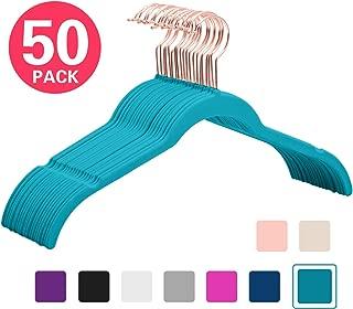 MIZGI Premium Velvet Shirt Hangers (Pack of 50) - Non Slip Felt Dress Hangers Teal - Copper/Rose Gold Hooks,Space Saving Clothes Hangers (Teal)