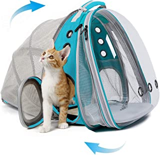 Expandable Front and Back Cat Backpack Carrier, Dual Expandable Space Capsule Transparent Clear Bubble Pet Carrier for Sma...