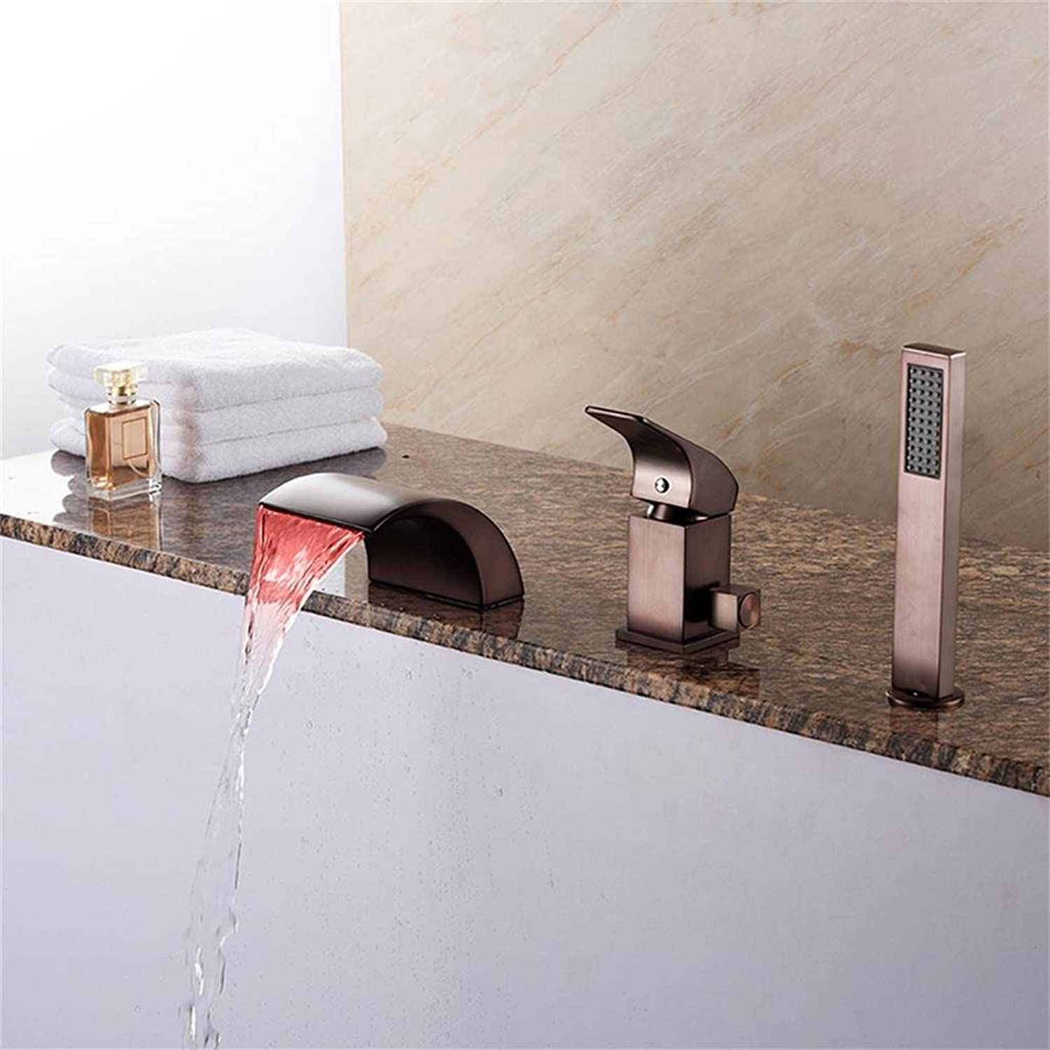 Uncle Sam LI - LED Antique Roman Tub Waterfall with Ceramic Valve One Handle Three Holes for Oil-rubbed Bronze , Bathtub Faucet