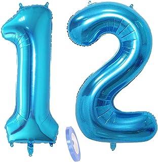 """2 globos numeros 12, número 12 azul niñas niño infantil ,40"""" figuras globo inflable gigante grande de papel de helio number globo azules para cumpleaños 12 años niños decoración de fiesta (xxxl 100cm)"""