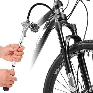 Lixada Bomba de Choque de Alta Presión 300PSI, Bomba de Amortiguador de Aire con Válvula de Schrader y Válvula de Suspensión Trasera, Válvula con Manómetro para Motocicleta o Bicicleta