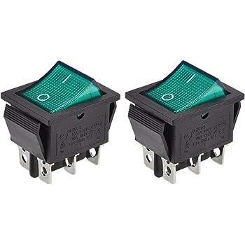 uxcell Boat Rocker Switch Green LED Light DC 12//24V Toggle Switch for Boat Car Marine ON//OFF AC 250V//15A 125V//20A SPST 1pcs