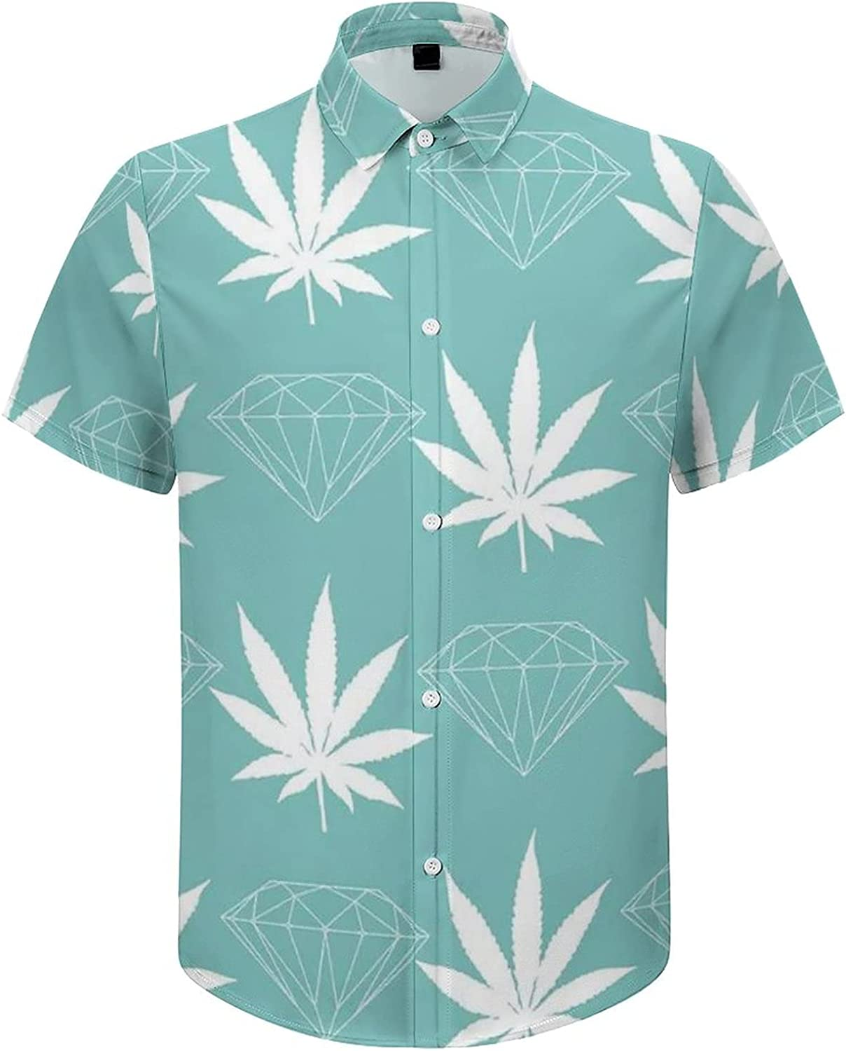Mens Button Down Shirt Weed Leaves and Jewelry Casual Summer Beach Shirts Tops