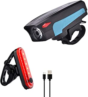 Gluckluz Bicycle Light Set Bike Headlight with Horn & Taillight Waterproof Front Rear Light for Mountain Bicycle Cycling C...