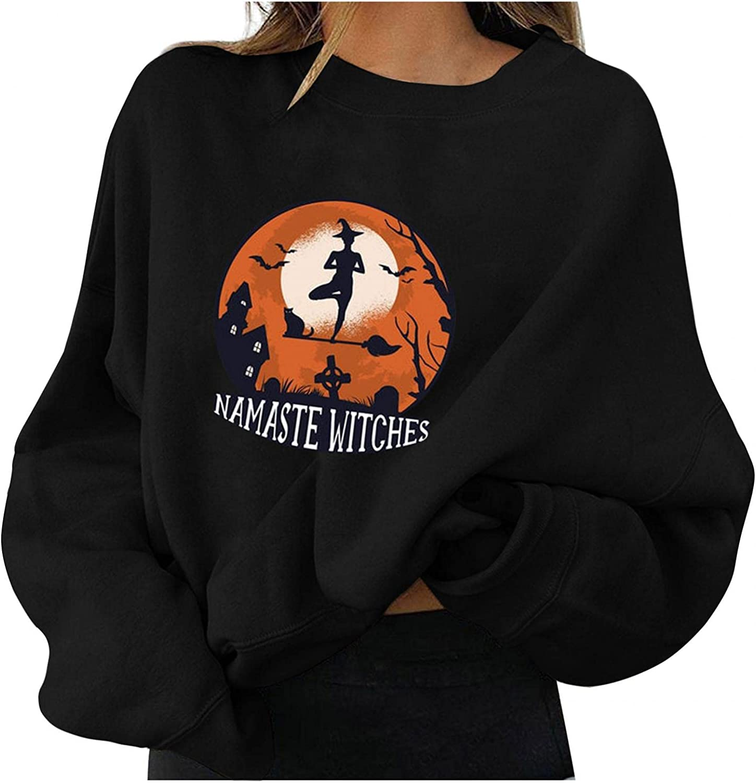 Toeava Halloween Sweatshirts for Women Crewneck Skeleton Graphic Oversized Long Sleeve Pullover Top Costumes Sweater