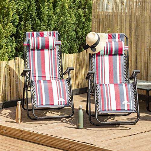 Glentilt Padded Reclining Sun Lounger Summer Pool Patio Outdoors Garden Chair - Tropical Stripe