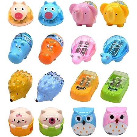 Temperamatite di animali del fumetto, Temperamatite di plastica carino a due fori, Forniture di cancelleria per studenti scolastici (Set di 16)