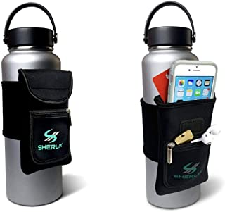 SHERLIX Water Bottle Holder with Pouch - Adjustable Neoprene Bag with Wraparound Strap for The Gym, Hiking, Travel - Zippe...
