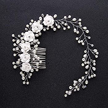 DvfeeL Hochzeit Braut Haarschmuck Kristall Blumen Imitation Perle Haar KammPin für Frauen Mädchen