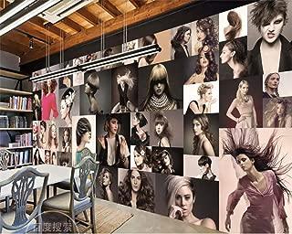 Afashiony Custom Personality Fashion Glamour Creative Hair Salon Barber Shop Background Wall Mural Wallpaper for Walls 3D Wall Mural wallpaper-250Cmx175Cm