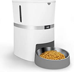 HoneyGuaridan Automatic Pet Feeder, Food Dispenser with Stainless Steel Pet Food Bowl, Portion Control and Voice Recording - Batteries and Power Adapter Support