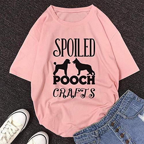 Women T-Shirts Drucken Sie T-Shirt Frauen Koreanisches Kurzarm-T-Shirt Lässiges Cartoon-T-Shirt L 8491-Pink