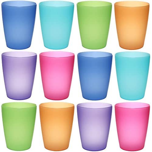 idea-station Neo Verres Plastique 12 pièces, 250 ML, Couleur, réutilisables, gobelet, Verre, Tasse en Plastique, Vaisselle, Enfant, Bebe, Beer Pong, Camping, a Eau, Whisky, Cocktail