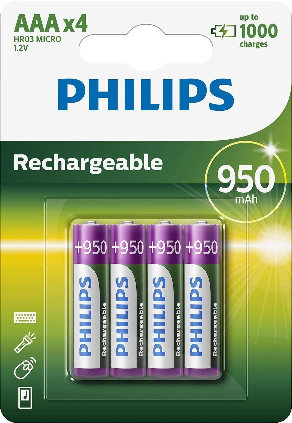 Philips R03B4A95/10 - Pack de 4 pilas recargables (NiMh, AAA Micro): Amazon.es: Electrónica