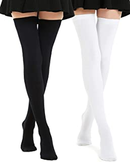Kayhoma Extra Long Cotton Thigh High Socks Plus Size Over the Knee High Boot Stockings Cotton Leg Warmers