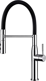 Yohom 304 Stainless Steel Black Kitchen Faucet Single Handle with Pull Down Dual Function Sprayer,Modern Single Hole Faucet Brushed Finish,Silicone Hose Black Kitchen Sink Faucet
