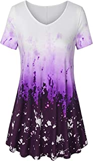 TOTOD Tops for Women Elegant Loose A Line Curved Hem Tie Dye Tunic Blouse Plus Size V Neck Short Sleeve T-Shirt (Purple,M)