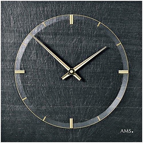 AMS 9516 Horloge murale en ardoise naturelle unique avec aiguilles dorées Horloge à quartz au design aérographe Finition satinée très stable et résistante aux chocs