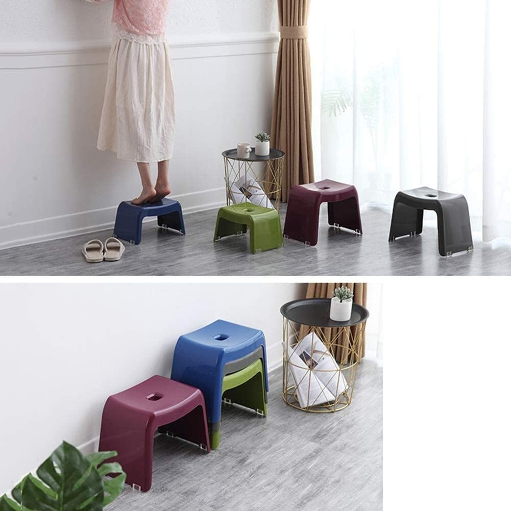 LAZNG Tabouret de bain chaussures changement de selles carré domestique plastique petite chaise salon banc salle de bain adulte tabouret anti-dérapant (Couleur : Blue 2l) Gray 1l