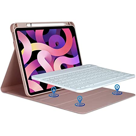 Teclado iPad 10.9 2020 Funda, Teclado Español (Incluye Ñ) para iPad air 4th Gen 10.9 2020/iPad pro 11 2018, Cubierta Magnético con Ranura de Lápiz ...