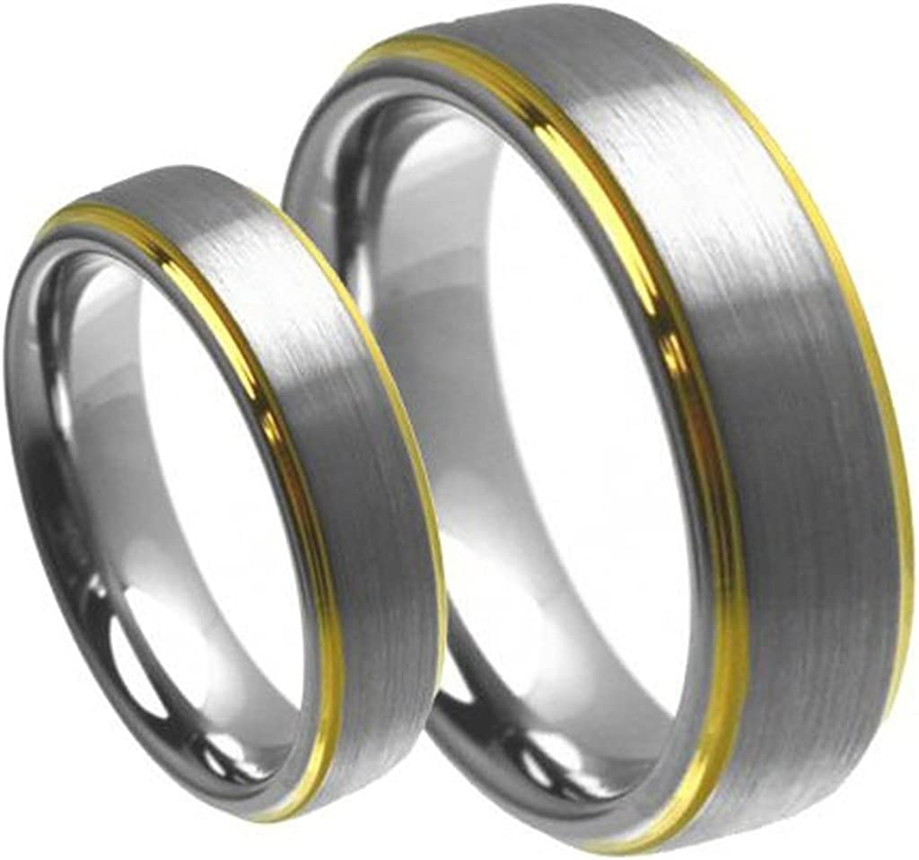 2 Set Men Max 69% OFF Women's 8mm 6mm Edge New York Mall Gold Center Brushed with Step