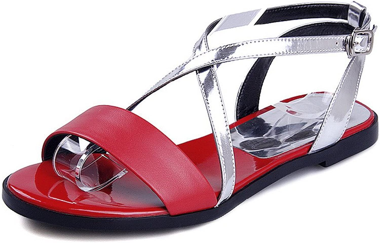 WeenFashion Women's Soft Material Open Toe No-heel Buckle Assorted colors Sandals