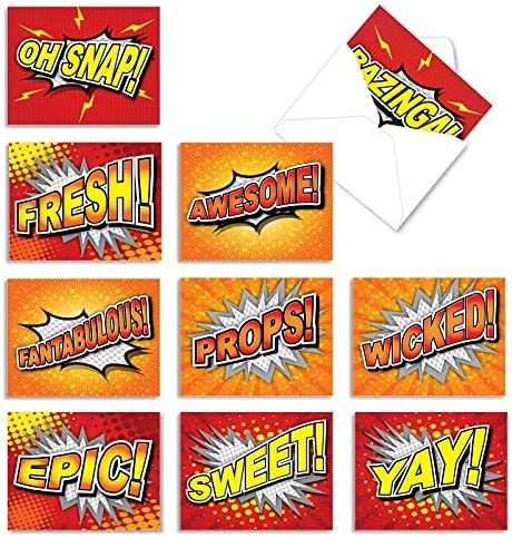 10 Assorted Word Bursts Thank You Note Cards...