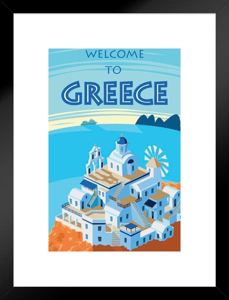 Poster Foundry Welcome Award to Greece Art Bombing free shipping Framed Travel Matted Retro