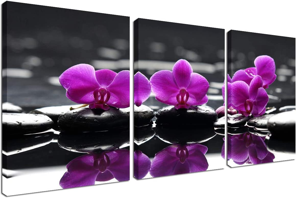 Amazon Com Flower Painting Wall Art Canvas Modern Picture Frame Purple Orchid Black Stone Floral Decorations For Living Room Home Kitchen Bedroom Farmhouse Decor Spa Poster Zen Print 3 Panel Set