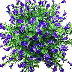 Lily Artificial Flowers Outdoor Purple UV Resistant Fake Plants Cemetery Faux Shrubs Calla Plastic Greenery 8pcs